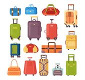 Set of plastic and metal suitcases, backpacks, bags for luggage. Plastic, metal suitcases, backpacks, bags for luggage. Travel suitcases with wheels, travel bag vector illustration