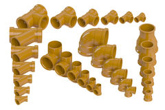 Set of plastic sewer pipes Royalty Free Stock Photo