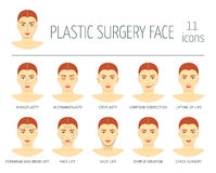 Set of plastic surgery face icons. Flat design. Vector royalty free illustration