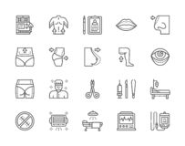 Set of Plastic Surgery Line Icons. Surgeon, Liposuction, Rhinoplasty and more. vector illustration