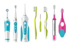 Set of plastic toothbrushes, different shapes, with ultrasound and battery. Set of plastic tooth brushes, different shapes for brushing teethwith. Personal royalty free illustration
