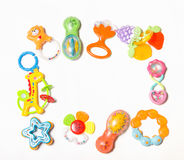 Set of plastic toys for newborn isolated on white Stock Photo