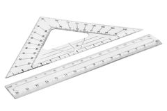 Set of plastic transparent rulers Stock Photo