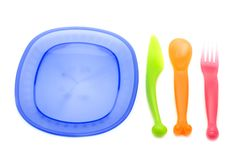 Set of plastic ware Royalty Free Stock Photos