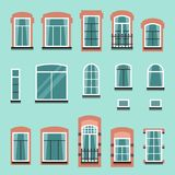 Set of vector plastic or wooden window frames Royalty Free Stock Photo