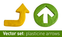 Set of plasticine arrows for your design. Royalty Free Stock Photo