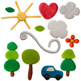 Set of plasticine objects isolated on white Royalty Free Stock Photography