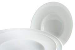Set of plates. Set of white plates over white background Royalty Free Stock Images