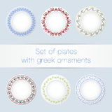 Set of plates with ancient greek ornaments Stock Images