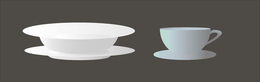 Set of plates and cup for tea or coffee Royalty Free Stock Photography