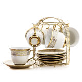 Set of plates and cups. On white background Stock Image