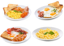 Set with plates of fried and scrambled eggs Stock Photos