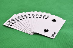 Set of play cards poker casino on a green background Royalty Free Stock Photography