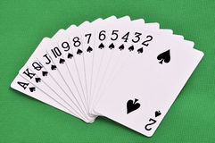 Set of play cards poker casino on a green background Royalty Free Stock Images