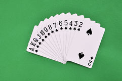 Set of play cards poker casino on a green background Royalty Free Stock Image
