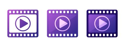 Set play video icons vector button element. Set play video icons vector video button element Royalty Free Stock Photography
