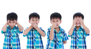 Set of playful asian boy covering his ear mouth nose eye in diff Royalty Free Stock Image