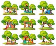 Set of playground park scenes. Illustration stock illustration