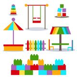 Set for the playground, sandbox and swing stock illustration