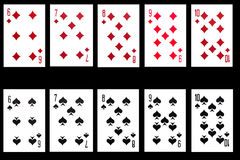 Set of playing card on black background Stock Photo