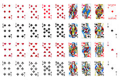 Set of playing card close up on white Royalty Free Stock Photo