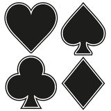 Set of playing card four symbols on white Royalty Free Stock Images