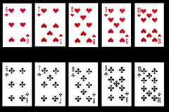 Set of playing card isolated on black background Stock Photography
