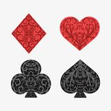 Set of playing card suits. Isolated on white background. Four card suits. Spades, clubs, diamonds, hearts. Vintage decorative symbols vector illustration
