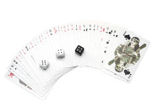 Set of playing cards and dice. Spread set or deck of playing cards with three dice, white background Stock Images