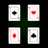 Set of playing cards - four aces Stock Image
