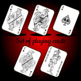 Set of playing cards on a red background. Set of playing cards on a dark red background Royalty Free Stock Image