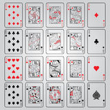 Set of playing cards : Ten, Jack, Queen, King, Ace Royalty Free Stock Photo