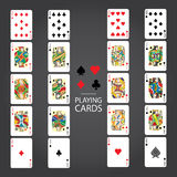 Set of playing cards : Ten, Jack, Queen, King, Ace Stock Photos