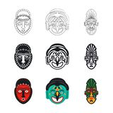Set plemienne afrykanin maski ikony odizolowywać na białym tle royalty ilustracja