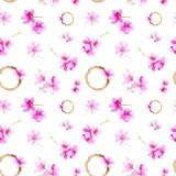 Set of plum flowers,twigs and wreath. Watercolor illustration isolated on white background.Seamless pattern stock image