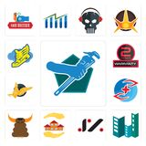 Set of plumber, construction, jz, realtor, bullshit, medicare, gryphon, 2 years warranty, shoe with wings icons. Set Of 13 simple  icons such as plumber Royalty Free Stock Photo