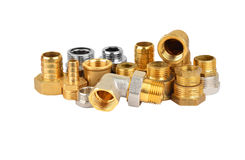 Set of plumbing fitting. Plumbing fitting and tubulure, isolated on white background royalty free stock photos