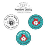 Set of plumbing and heating vintage labels. Outdoor for you comp Royalty Free Stock Photography