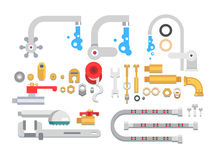 Set plumbing parts. Tube and pipe for water, metal construction, vector illustration Royalty Free Stock Images