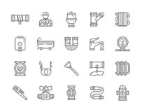 Set of Plumbing Services Line Icons. Bathtub, Toilet, Boiler, Plumber and more. vector illustration