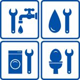 Set of plumbing signs Royalty Free Stock Photography
