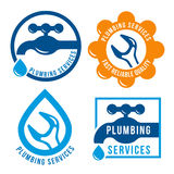 Set of plumbing theme logo template. Vector emblems collection.  on white background Royalty Free Stock Images