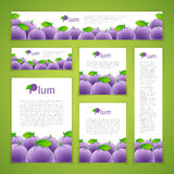 Set of Plums Banners Stock Photos