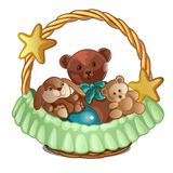 Set of plush bears and a rabbit in wicker basket isolated on white background. Sketch for greeting card, festive poster. Or party invitations Royalty Free Stock Photos