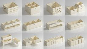 Set of plywood crates and boxes. Set of plywood boxes and boxes of wood or chipboard in light colors. 3d rendering Stock Photography