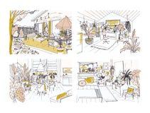 Set połówka barwił freehand nakreślenia meblujących w Skandynawskim hygge stylu wygodny mieszkanie Plik pokoje pełno royalty ilustracja