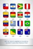 Set południowe America flaga prostokąta kolorowe glansowane szpilki Zdjęcia Royalty Free