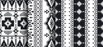 Set Południowo-zachodni amerykanin, indianin, aztek, Navajo wzory royalty ilustracja