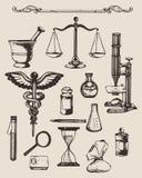 Set pociągany ręcznie elementy apteka lub chemia ilustracja wektor