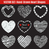 Set pociągany ręcznie tekstury serca kształty wektor royalty ilustracja